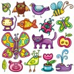 Cartoon flora and fauna set — Stock Vector