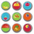 Fruity bottle caps - vector set - Stock Vector