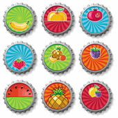 Fruity bottle caps - vector set — Stock Vector