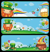 St Patrick's Day cartoon banners — Stock Vector
