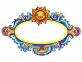 Sun curly frame (floral curly series) — Stock Vector