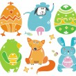 Cute Easter animals with eggs. - Stok Vektör