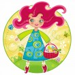 Cute girl with basket full of Easter eggs - Stock Vector