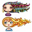 Royalty-Free Stock Vector Image: Beautiful girls with cool hair styles 2