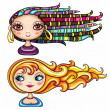 Beautiful girls with cool hair styles 2 — Stock Vector