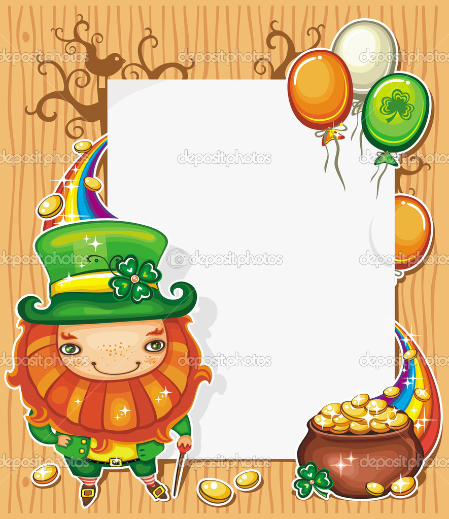 St Patricks Day celebration illustration featuring Irish holidays symbols: leprecaun in a green coat and hat, pot of gold, golden shiny coins — Stock Vector #5126279