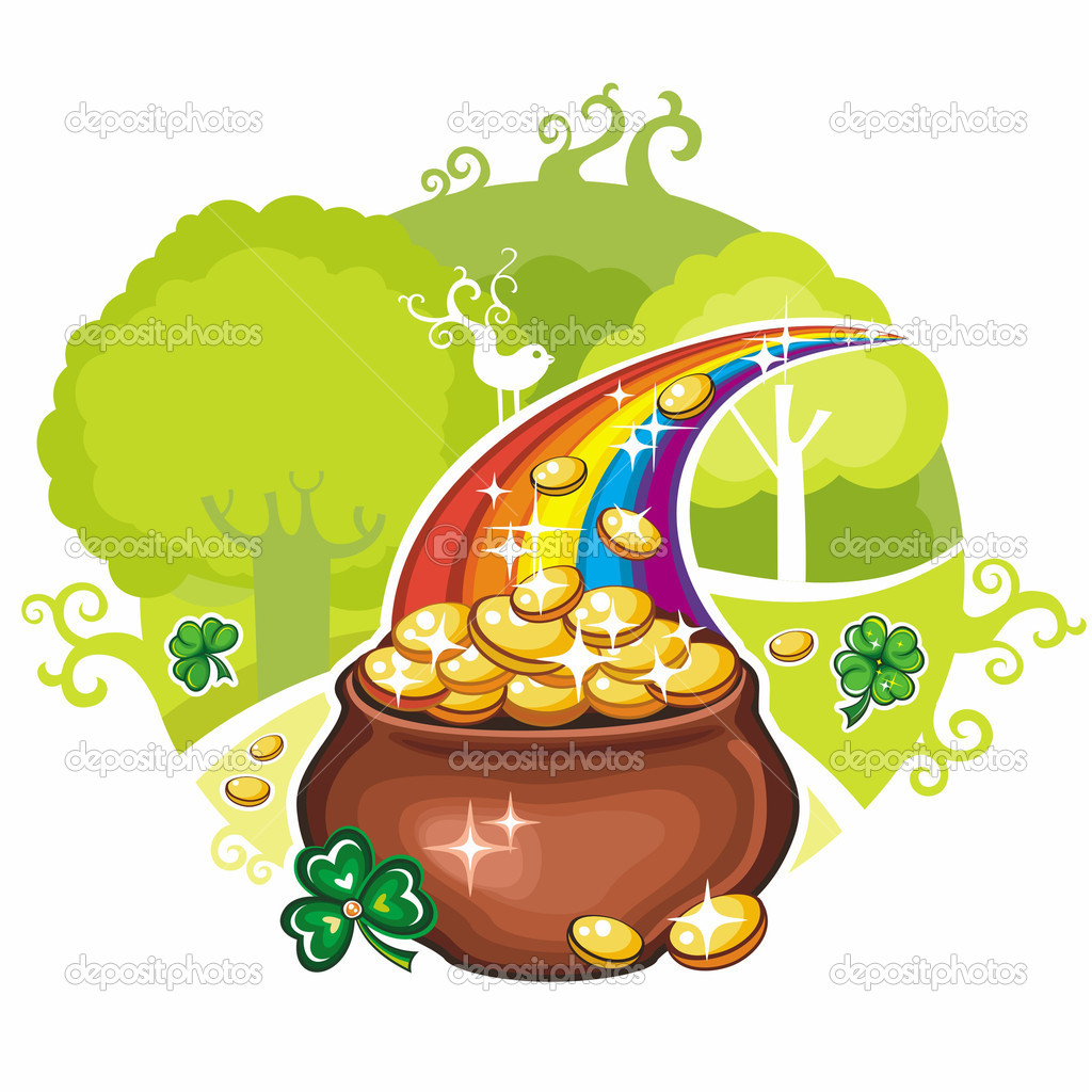 Vector illustration of St. Patrick's Day symbol, pot of gold colins with shamrocks, standing at the magical forest. — Stock Vector #5126282