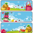 Colorful fruit banners — Stock Vector