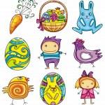 Easter doodles design elements — Stock Vector