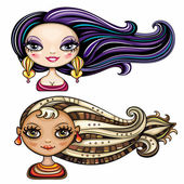 Beautiful girls with cool hair styles 3 — Stock Vector