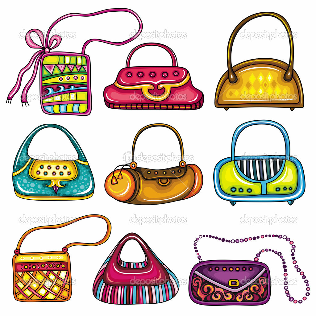 Set of colorful purses. Cute different shapes and prints. Totes, handbags, bucket bag, hobos, clutches, satchel, shoulder bags, chain handle bags.  — Stock Vector #5289086