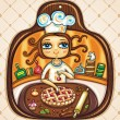 Vettoriale Stock : Chef girl