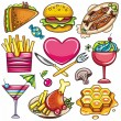 Stock Vector: Set of ready to eat food icons 3