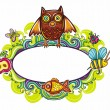 Floral cartoon framework with funny owl - Stock Vector