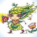 Spring girl — Stock Vector #5332505