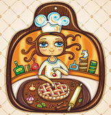Chef girl — Vector de stock