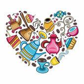Coffee lover heart — Stock Vector