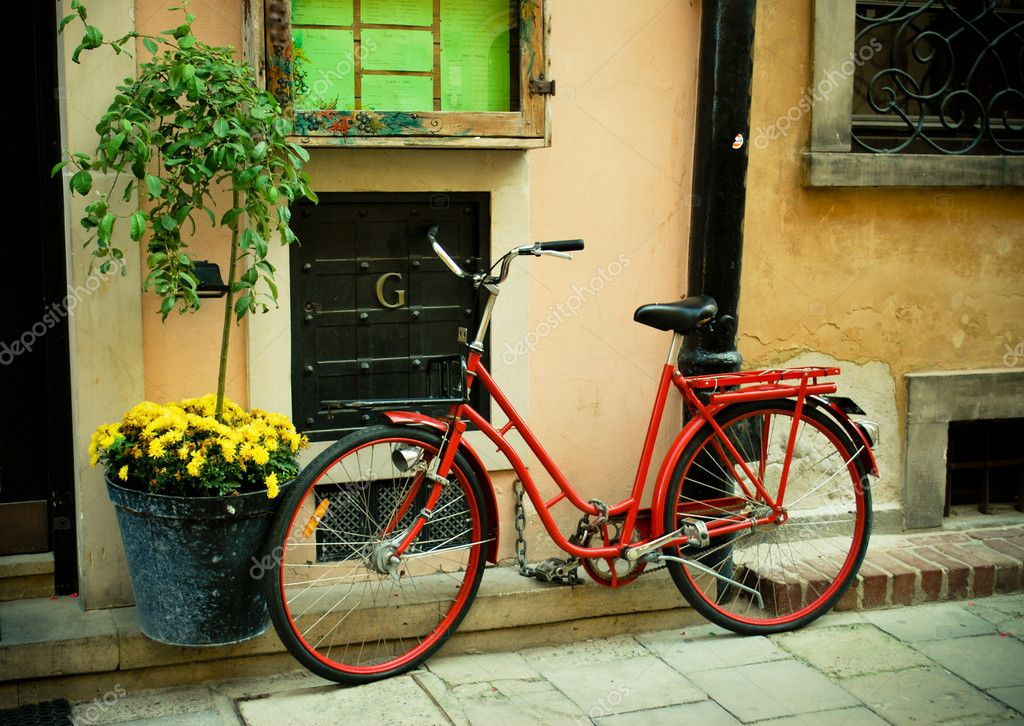 Red bike on a nice european street  Photo #4039169