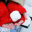 Snowball in hands — Foto Stock