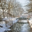Park and river under snow — Stock Photo