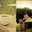 Collage: girl and coffee — Foto Stock