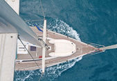 Top view of sailing boat — Foto Stock