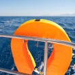 Orange lifebuoy on sailing ship — Stock Photo