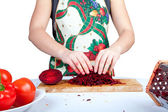 Woman cooking beetroot — Stock Photo