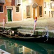 Venetian gondola at night — Stock Photo
