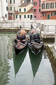 Two gondola in Venice at the pier — Stock Photo