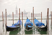 Three gondolas in Venice — Stock Photo