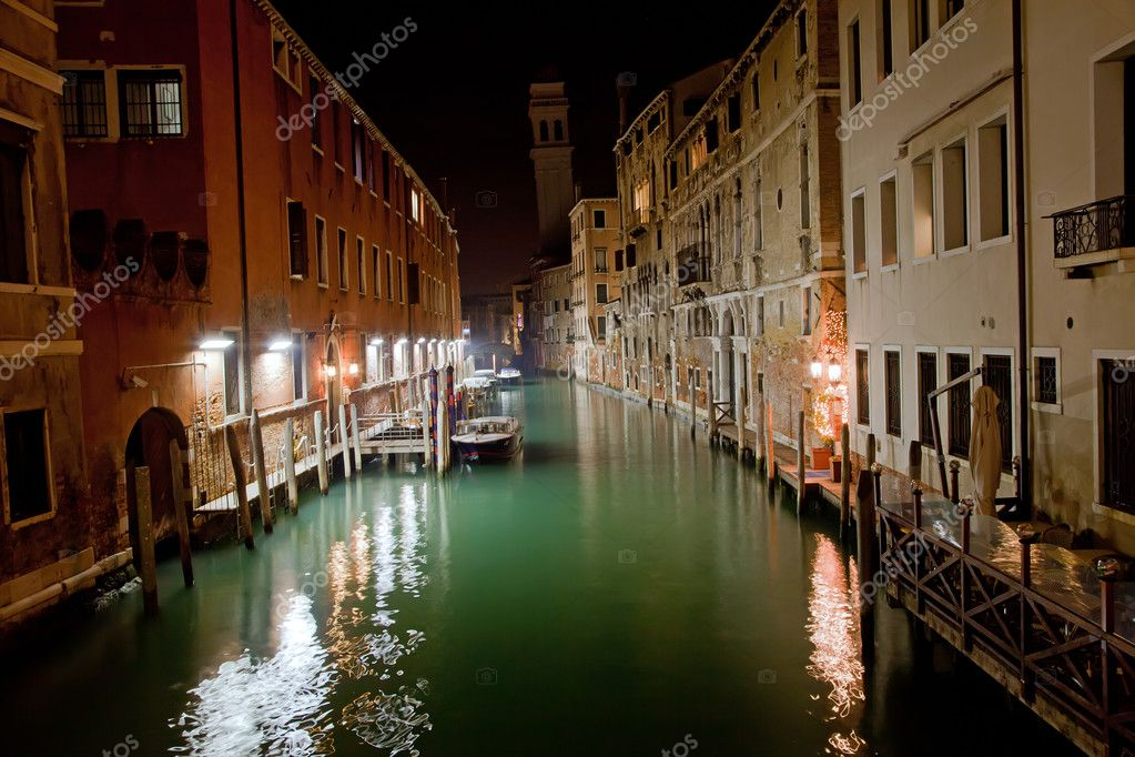 Venice channel at night with boats  Stock Photo #4668334