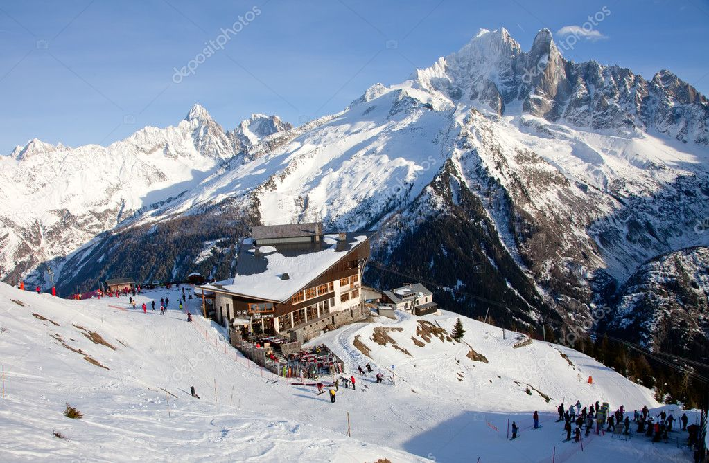 Near self service bar on ski resort in France — Stock Photo #4685746