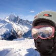 Collage with alpine slope and closeup skier — Stock Photo #4697794