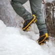 Pair of alpinist boots in crampons — Stockfoto