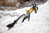 Three ice axes in the snow — Stok fotoğraf