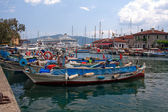 City harbor in marmaris with boats — Stock Photo