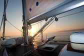 Sailing boat deck at sunset — Stock Photo