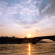 subway bridge across dnipro river in kiev — Stock Photo