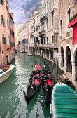 Two gondola in Venice near pier — Stock Photo