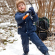 Small boy with ice axe — Stock Photo #5337057