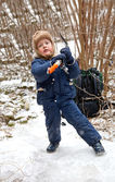 Small boy with ice axe — Stock Photo