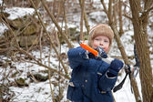 Small boy with ice axe — Stok fotoğraf
