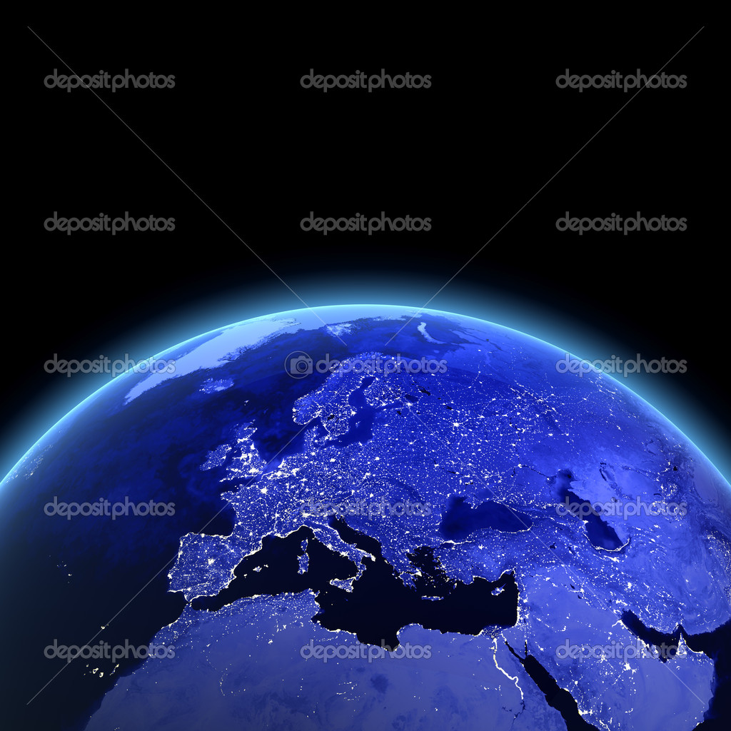 Europe 3d render. Maps from NASA imagery — Foto de Stock   #4299646