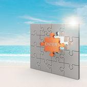 Enter puzzle concept — Stock Photo
