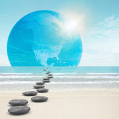 Zen-like stones road to earth — Stock Photo