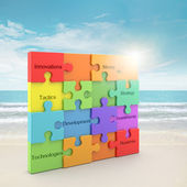 Rainbow puzzle concept — Stock Photo