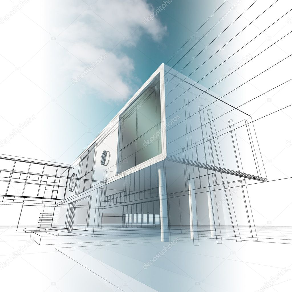 Construction architecture. High quality 3d render — Stock Photo #4459897