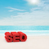 SEO sign on beach — Stock Photo