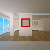 Penthouse interior with red board — Stock Photo